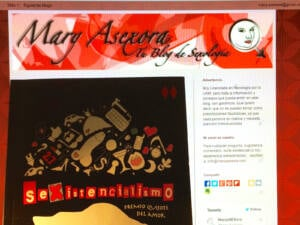 El libro Sexistencialismo frente a la pantalla del PC con la web de Maryasexora