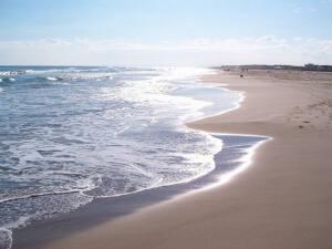 Foto de una playa sin gente co el sol reflejado en el agua