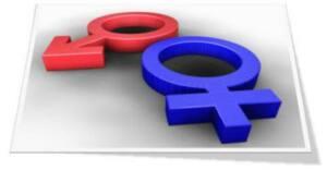 símbnbolo de la masculinidad en rojo y de la feminidad en azul