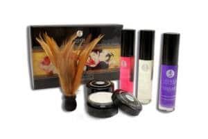 Caja, pluma, aceites y polvos del kit Shunga - Secretos de la Geisha