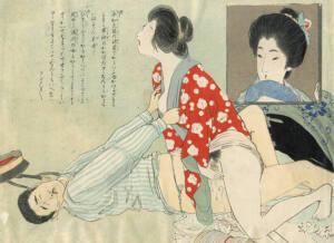 Pintura Shunga con una mujer en cuclillas penetrada por un hombre tumbado bocaarriba