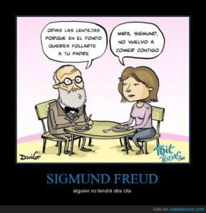 Viñeta en la que Freud le dice que a la chica que no le gustan las lentejas porque en el fondo se quiere follar a su padre