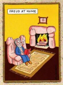 Viñeta de Freud fumando un pene, al calor de una chimenea con penes sentado en un sillón de penes y con una alfombra de penes