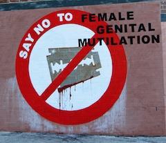 Grafiti que muestra una cuchilla con el símbolo de prohibido superpuesto