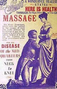 Cartel en el que se muestra a una mujer de pie siendo masturbada por su terapeuta arrodillado