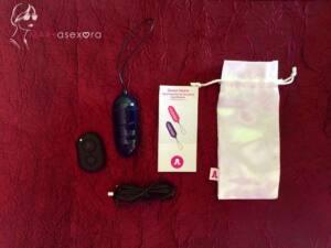 Mando a distancia, cable USB para carga, vibrador azul acabado brillante, instrucciones y funda blanca