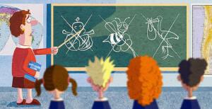 Dibujo de una profesora mostrando en una pizarra una cigüeñas, una abeja y un bebé en unas flores tachados