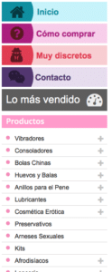 Desplegable lateral con información de cómo comprar, contacto, discrección y catálago de productos