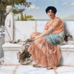 Pintura donde se muestra a una mujer morena sentada ligeramente de lado, en un banco de mármol blanco sobre unas pieles de animal que parece ser de un tigre.