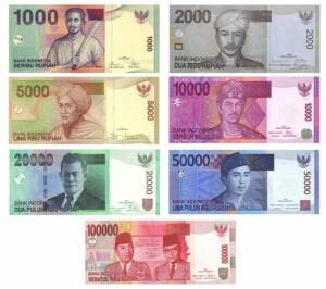 Billetes de 1000, 2000, 5000, 10000, 20000, 50000 y 100000 rupias indonesias