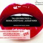 Cartel del taller práctico de sexos, eróticas y juguetería sobre fondo de una boca de mujer entreabierta