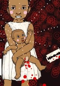 Ilustración que muestra a una niña de color con vestido blanco que sujeta en brazos a una niña, un bebé. Este bebé tiene una tirita que le tapa la vulva y a la derecha de la imagen se muestra una cuchilla ensangrentada