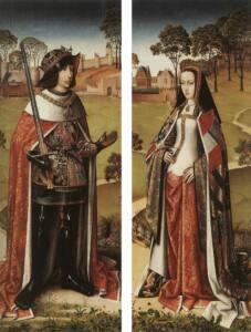 Retraro de una parte de un tríptico del museo de Bellas Artes de Bélgica en que se muestra a la izquierda a Felipe el Hermoso y a la derecha a Juana.