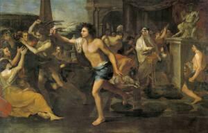 Foto de un óleo sobre lienzo del museo del Prado donde se muestra en plimer plano a un joven con un látigo de pieles, corriendo detrás de las mujeres.