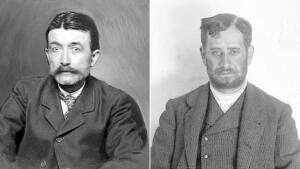 Fotos de Juan Aldije a la izquierda con bigote y José Muñoz a la derecha con barba.