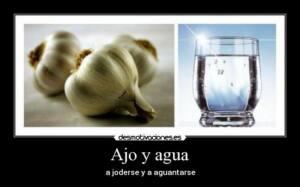 Foto partida por la miad. A la izquierda aparecen dos cabezas de ajo y a la derecha un vaso con agua. La leyenda a pie de foto dice: Ajo y Agua. A joderse y a aguantarse