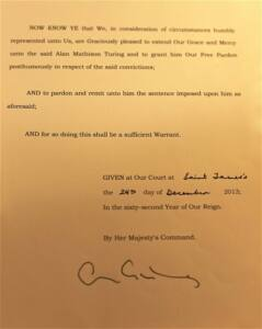 Texto del indulto póstumo a Alan Turing emitido por el gobierno británico