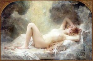 Cuadro de Dánae desnuda tumbada sobre sábanas blancas mientras le cae una lluvia de oro