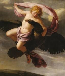 Cuadro en el que se muestra a un águila negra volando con un chico joven semidesnudo.