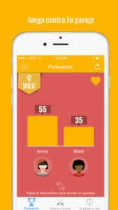Pantallazo de la app Desire para parejas. Aparecen puntuaciones de ambos miembros y las opciones: reta a tu pareja y tu pareja te reta