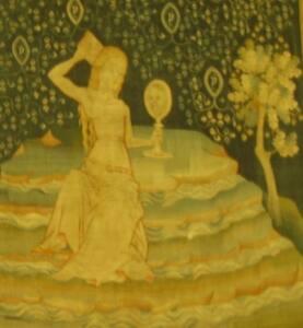 Representación de la prostituta de Babilonia según el Tapiz del Apocalipsis de Angers