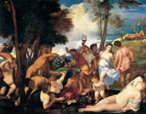 Cuadro donde se muestra a hombres semidesnudos bebiendo y mujeres desnudas en el campo.