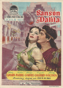 Cartel de la película de 1949 Sansón y Dalida donde aparecen los dos actores principales: Hedy Lamar y Victor Mature.