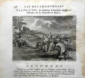 Escena en blanco y negro de la Metamorfosis donde aparecen varias mujeres desnudas bañándose en el mar
