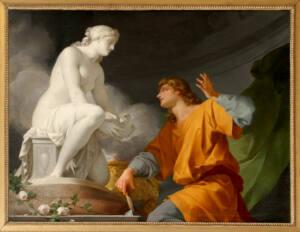 Cuadro de Jean-Baptiste Regnault que representa a Pigmalion de rodillas a los pies de la estuatua de Galatea sentada.