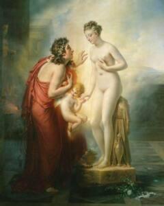 Cuadro de Anne-Louis Girodet de Roucy-Trioson donde Galatea desnuda y en el pedestal ya es de carne y hueso y mira a Pigmalión que trata de acariciarla.