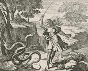 Escena en la que Tiresias mujer aparece alzando una vara para intentar golpear con ella a las serpientes.
