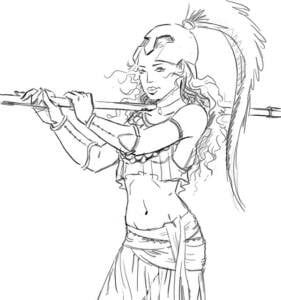 Dibujo, boceto a línea en negro de Atenea de perfil, portando una lanza, con casco y top dejando la cintura al descubierto.