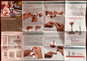 Instrucciones cara A del test de autodiagnóstico del VIH con los pasos a seguir para realizar la prueba
