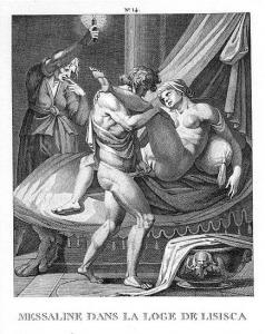 Pintura en blanco y negro donde se muestra a un hombre penetrando a Mesalina