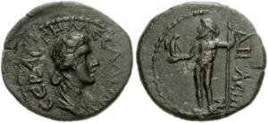 Monedas con el rostro de Mesalina grabado