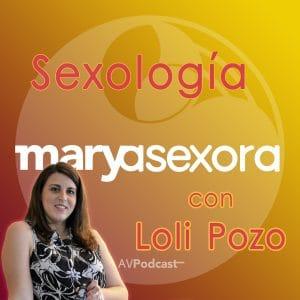 Fondo con el logotipo del podcast y en letras rojas: Sexología con Loli Pozo. A un lado, aparece la foto de Loli.