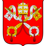 Escudo de la Ciudad del Vaticano: Llaves entrecruzadas (decusatas) encima de las cuales está situada la tiara sobre fondo rojo.