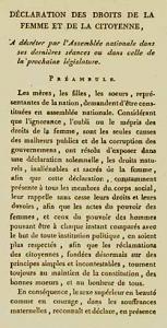 Foto del preámbulo de la Declaración de los derechos de la mujer y de la ciudadana en francés.