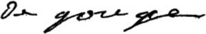 Firma de Olympe de Gouges donde se lee: De Gouge