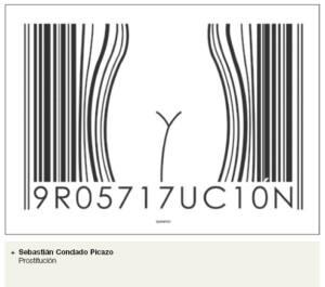 Código de barras que en el centro dibuja el contorno de la cintura de una mujer. En los números de los códigos se lee: 9RO5717UC10N