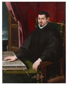Retrato de Sebastián de Covarrubias, sentado, de negro, con una mano en un libro y mirando al frente