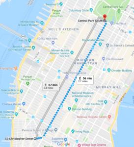 Pantallazo del recorrido en google map del primer desfile del Orgullo, the Christopher Street Liberation Day.
