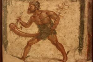 Pintura de Príapo desnudo con un enorme pene erecto.