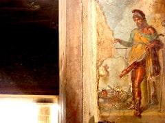 Pintura donde se representa a Príapo con un largo pene erecto.
