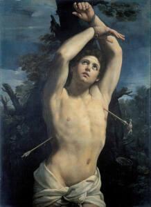 Cuadro de San Sebastián de Guido Reni representado semidesnudo y con dos flechas a cada costado.