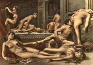 Ilustración en la que aperecen hombres y mujeres desnudo manteniendo distintas relaciones sexuales: felaciones, cunnilingus,coitos...
