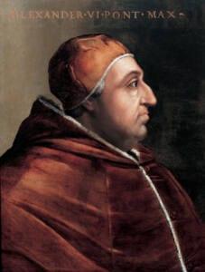 Retrato de perfil del Papa Alejandro VI realizado por Cristofano dell'Altissimo.