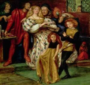 Cuadro en acuarela de la familia Borgia