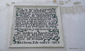 """Placa en honor a Elena de Céspdedes en la que se lee: A la mulata alhameña Elena/o de Céspedes (1545) primera cirujana mujer y transexual de la historia. Miguel de cervantes que visita Alhama en 1594 y teniendo conocimiento de su azarosa vida, se inspira en ella para crear el personaje de Zenotia """"la bruja"""" en su última obra: Los trabajos de Persiles y Segismunda (1617). """"Mi nombre es Zenotia, soy natural de España, nacida y criada en Alhama, ciudad del reyno de Granada"""". Alhama, 8 de marzo de 2012."""