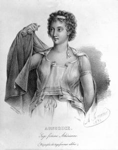 Imagen en blanco y negro de Agnodice.